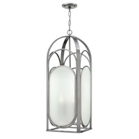 Astor 4 Light 13 inch Brushed Nickel Foyer Ceiling Light, Ribbed Etched Glass