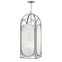 Astor 8 Light 17 inch Brushed Nickel Foyer Ceiling Light, Ribbed Etched Glass