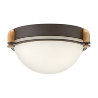 Hinkley Lighting Logan 2 Light Flush Mount in Buckeye Bronze with Etched Opal Glass 3902KZ