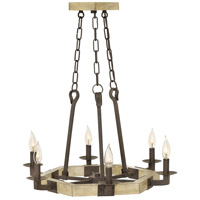 Wyatt 6 Light 24 inch Iron Rust Chandelier Ceiling Light, Single Tier