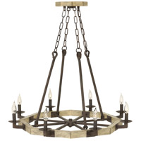 Wyatt 8 Light 34 inch Iron Rust Foyer Light Ceiling Light, Single Tier