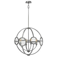 Hinkley 3924PL Fulham 4 Light 26 inch Polished Antique Nickel Chandelier Ceiling Light, Clear Beveled Glass