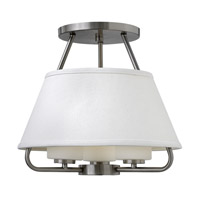 Hinkley 3951BN Cole 3 Light 18 inch Brushed Nickel Semi-Flush Mount Ceiling Light, White Linen Shade and Etched Opal Glass