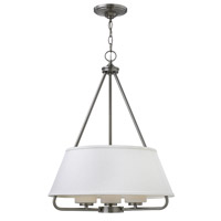 Hinkley 3953BN Cole 3 Light 20 inch Brushed Nickel Chandelier Ceiling Light White Linen Shade and Etched Opal Glass