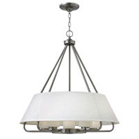 Hinkley 3955BN Cole 5 Light 27 inch Brushed Nickel Chandelier Ceiling Light, White Linen Shade and Etched Opal Glass