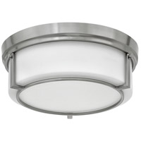 Weston 3 Light 15 inch Brushed Nickel Flush Mount Ceiling Light, Etched Opal Glass