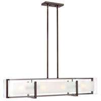 Latitude 4 Light 42 inch Oil Rubbed Bronze Linear Chandelier Ceiling Light