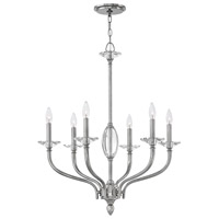 Hinkley 4006PN Surrey 6 Light 28 inch Polished Nickel Chandelier Ceiling Light