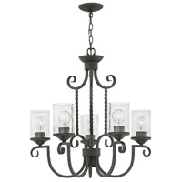 Hinkley 4015OL-CL Casa 5 Light 25 inch Olde Black Foyer Chandelier Ceiling Light in Clear Seedy