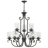 Hinkley 4018OL-CL Casa 9 Light 29 inch Olde Black Foyer Chandelier Ceiling Light in Clear Seedy