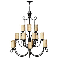 Hinkley 4019OL Casa 15 Light 42 inch Olde Black Chandelier Ceiling Light in Antique Scavo 3 Tier