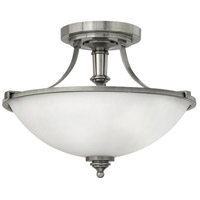 Truman 3 Light 16 inch Antique Nickel Foyer Semi-Flush Mount Ceiling Light in Incandescent, Etched Opal Glass