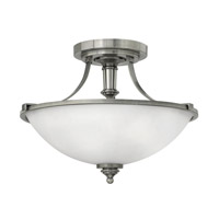 Hinkley Lighting Truman 1 Light Semi-Flush Mount in Antique Nickel with Etched Opal Glass 4021AN-LED