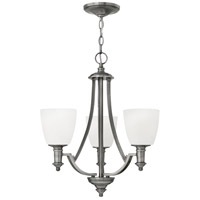 Hinkley 4023AN Truman 3 Light 20 inch Antique Nickel Chandelier Ceiling Light, Etched Opal Glass