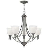 Hinkley 4025AN Truman 5 Light 27 inch Antique Nickel Chandelier Ceiling Light, Etched Opal Glass