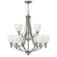 Hinkley 4028AN Truman 9 Light 3 inch Antique Nickel Chandelier Ceiling Light, Etched Opal Glass