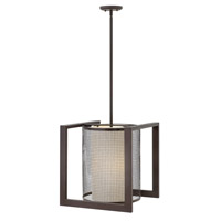 Renzo 3 Light 17 inch Regency Bronze Foyer Ceiling Light, Metallic Linen Shade
