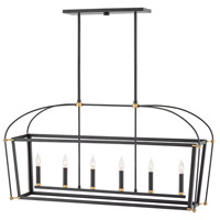 Hinkley 4054BK Selby 6 Light 48 inch Black Linear Chandelier Ceiling Light, Stem Hung