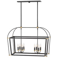 Selby 8 Light 34 inch Black Linear Chandelier Ceiling Light, Stem Hung