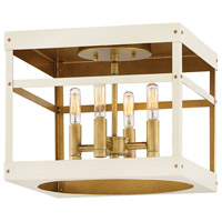 Hinkley 4071HB-WT Porter 4 Light 12 inch Heritage Brass with Warm White Foyer Flush Mount Ceiling Light
