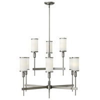 Hinkley 4078BN Princeton 9 Light 34 inch Brushed Nickel Chandelier Ceiling Light, Etched Opal Glass