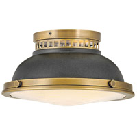 Hinkley 4081HB-DZ Emery 2 Light 13 inch Heritage Brass with Aged Zinc Flush Mount Ceiling Light