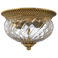 Plantation 2 Light 12 inch Burnished Brass Flush Mount Ceiling Light