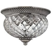 Plantation 2 Light 12 inch Polished Antique Nickel Bath Flush Mount Ceiling Light