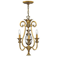 Plantation 3 Light 13 inch Burnished Brass Chandelier Ceiling Light