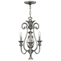 Hinkley 4103PL Plantation 3 Light 13 inch Polished Antique Nickel Chandelier Ceiling Light
