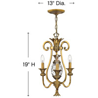 Hinkley 4103BB Plantation 3 Light 13 inch Burnished Brass Chandelier Ceiling Light alternative photo thumbnail