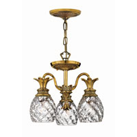 Hinkley Lighting Plantation 3 Light Chandelier in Burnished Brass 4143BB