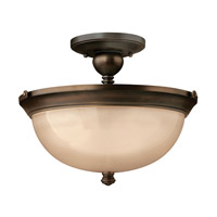 Mayflower 3 Light 15 inch Olde Bronze Semi Flush Ceiling Light