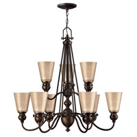 Hinkley 4168OB Mayflower 9 Light 32 inch Olde Bronze Chandelier Ceiling Light, 2 Tier