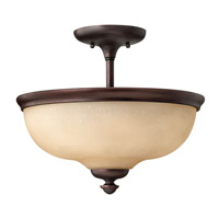 Thistledown 3 Light 15 inch Victorian Bronze Semi Flush Ceiling Light
