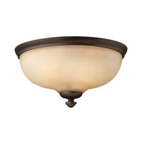 Thistledown 1 Light 15 inch Victorian Bronze Flush Mount Ceiling Light, Amber Linen Glass