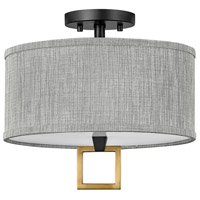 Hinkley 41805BK Galerie Link LED 13 inch Black/Heritage Brass Semi-Flush Mount Ceiling Light