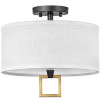 Hinkley 41806BK Galerie Link LED 13 inch Black/Heritage Brass Semi-Flush Mount Ceiling Light