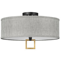 Hinkley 41807BK Link LED 18 inch Black/Heritage Brass Semi-flush Ceiling Light Galerie