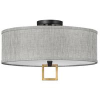 Hinkley 41807BK Galerie Link LED 18 inch Black/Heritage Brass Semi-Flush Mount Ceiling Light