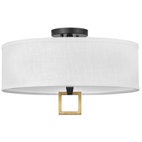 Hinkley 41808BK Link LED 18 inch Black/Heritage Brass Semi-flush Ceiling Light Galerie