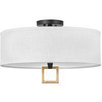 Hinkley 41808BK Galerie Link LED 18 inch Black/Heritage Brass Semi-Flush Mount Ceiling Light