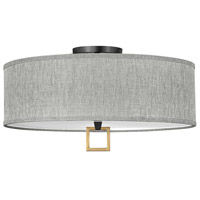 Hinkley 41809BK Galerie Link LED 24 inch Black/Heritage Brass Semi-Flush Mount Ceiling Light
