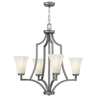 Hinkley 4194BN Spencer 4 Light 26 inch Brushed Nickel Chandelier Ceiling Light, Etched Opal Glass