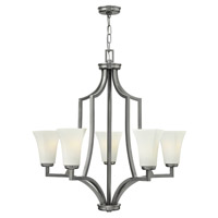 Spencer 5 Light 29 inch Brushed Nickel Chandelier Ceiling Light, Etched Opal Glass