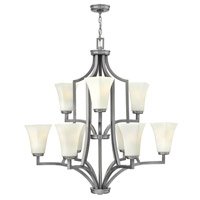 Hinkley 4198BN Spencer 9 Light 32 inch Brushed Nickel Chandelier Ceiling Light, Etched Opal Glass