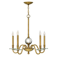 Everly 5 Light 28 inch Heritage Brass Chandelier Ceiling Light, Crystal Bobeches