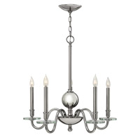 Everly 5 Light 28 inch Polished Nickel Chandelier Ceiling Light, Crystal Bobeches