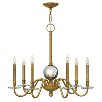 Hinkley 4206HB Everly 7 Light 34 inch Heritage Brass Chandelier Ceiling Light, Crystal Bobeches