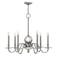 Hinkley 4206PN Everly 7 Light 34 inch Polished Nickel Chandelier Ceiling Light, Crystal Bobeches
